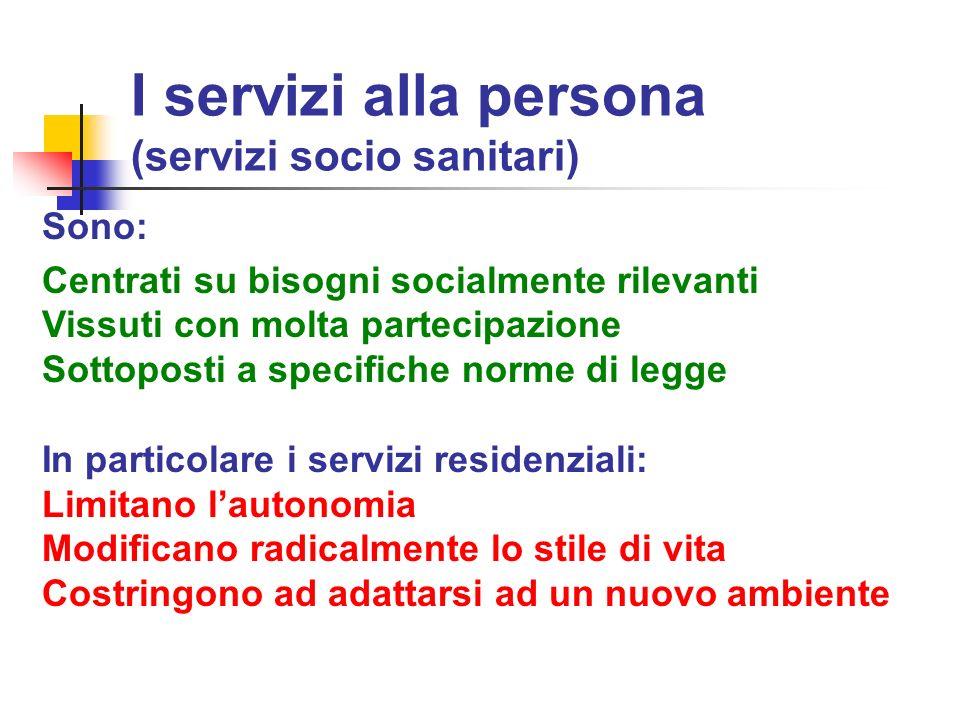 I servizi alla persona (servizi socio sanitari)