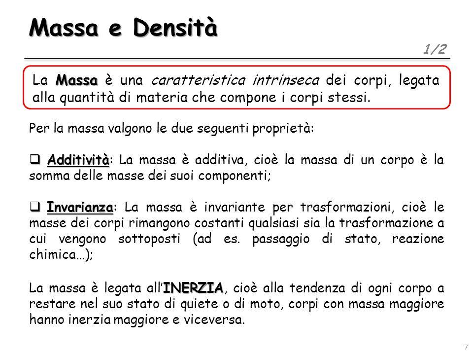 Massa e Densità 1/2. La Massa è una caratteristica intrinseca dei corpi, legata alla quantità di materia che compone i corpi stessi.