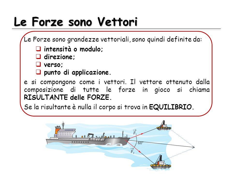 Le Forze sono Vettori Le Forze sono grandezze vettoriali, sono quindi definite da: intensità o modulo;