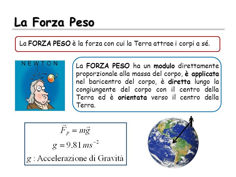 La Forza Peso La FORZA PESO è la forza con cui la Terra attrae i corpi a sé.