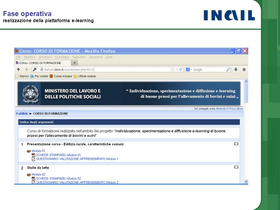 Fase operativa realizzazione della piattaforma e-learning