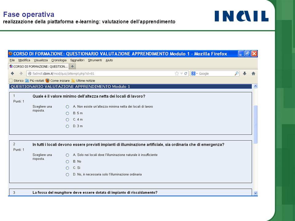 Fase operativa realizzazione della piattaforma e-learning: valutazione dell'apprendimento