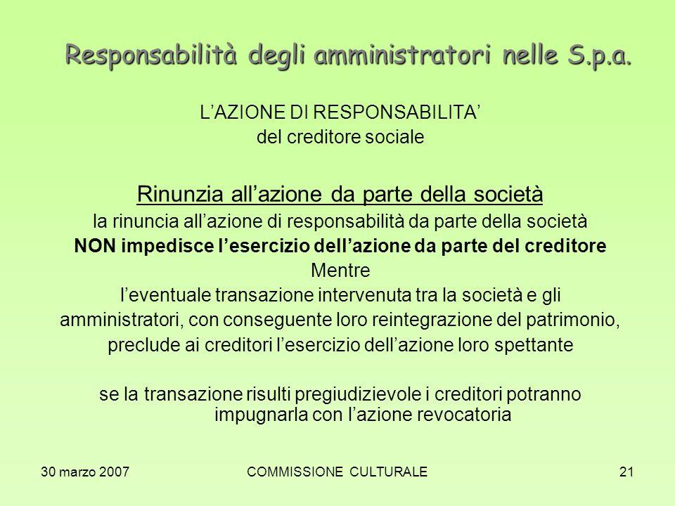 Responsabilità degli amministratori nelle S.p.a.
