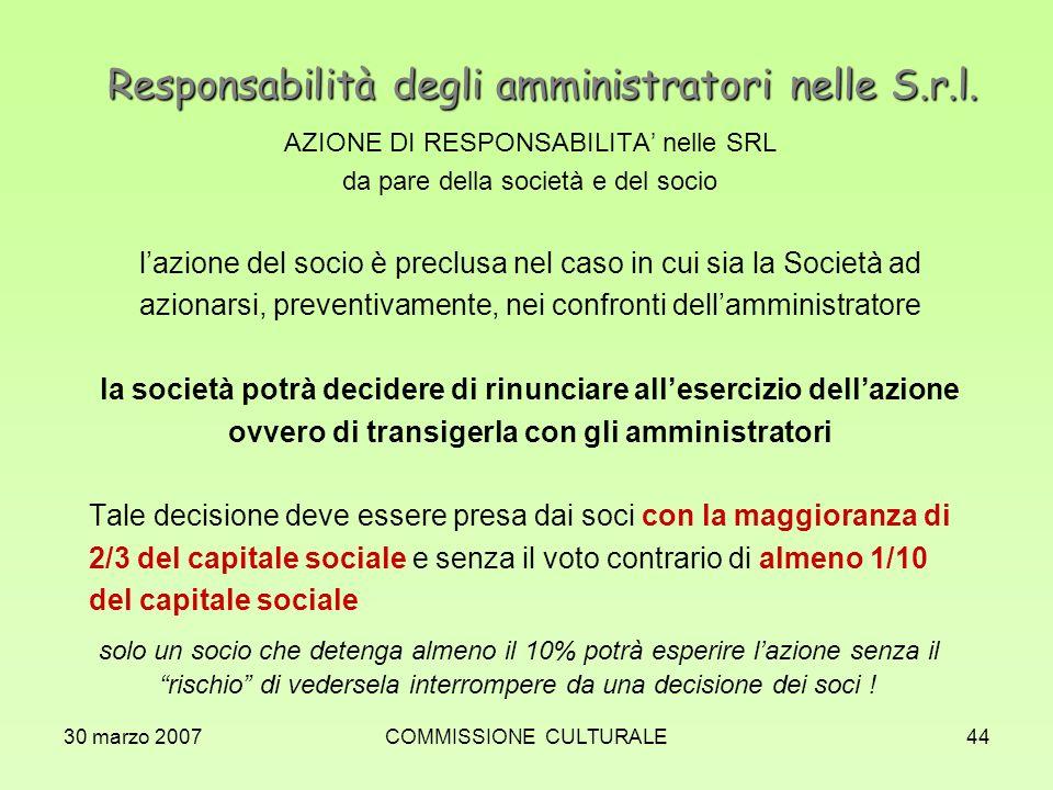 Responsabilità degli amministratori nelle S.r.l.