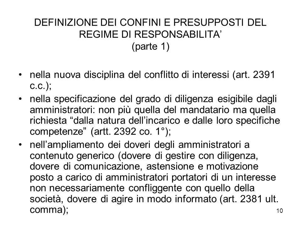 DEFINIZIONE DEI CONFINI E PRESUPPOSTI DEL REGIME DI RESPONSABILITA' (parte 1)