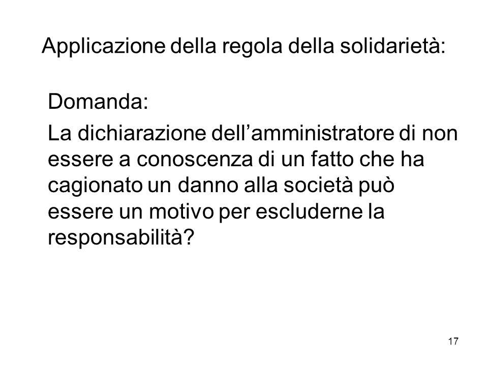 Applicazione della regola della solidarietà: