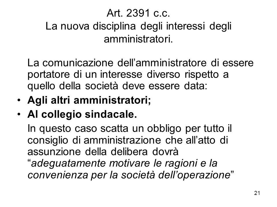 Art. 2391 c.c. La nuova disciplina degli interessi degli amministratori.