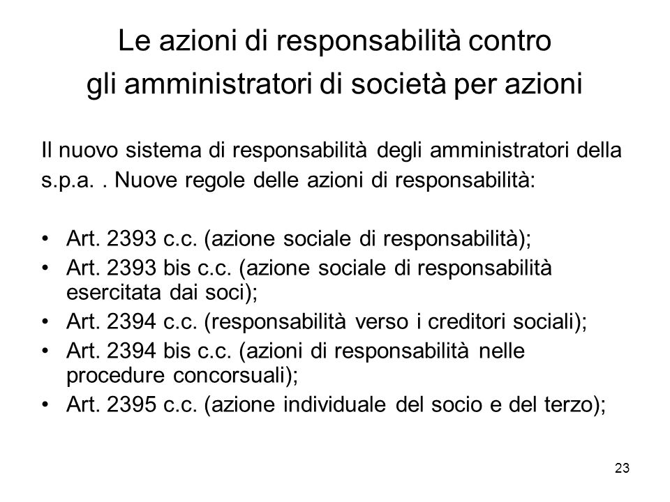 Le azioni di responsabilità contro gli amministratori di società per azioni