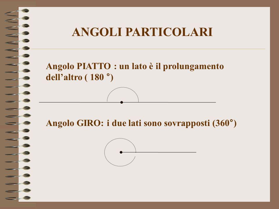ANGOLI PARTICOLARI Angolo PIATTO : un lato è il prolungamento dell'altro ( 180 °) Angolo GIRO: i due lati sono sovrapposti (360°)