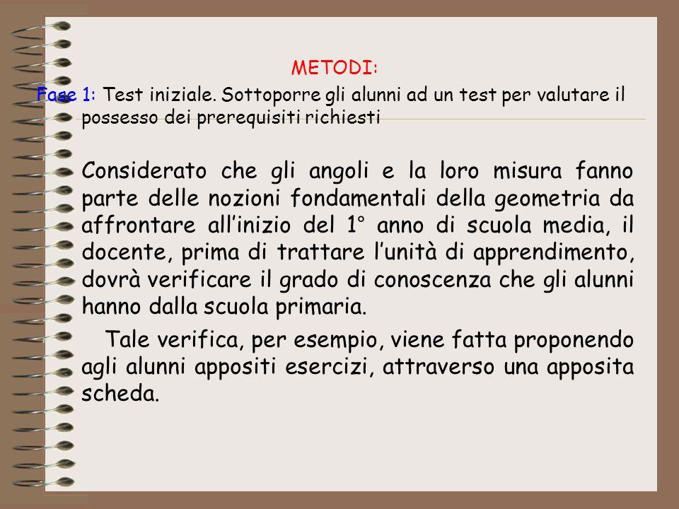 METODI: Fase 1: Test iniziale. Sottoporre gli alunni ad un test per valutare il possesso dei prerequisiti richiesti.