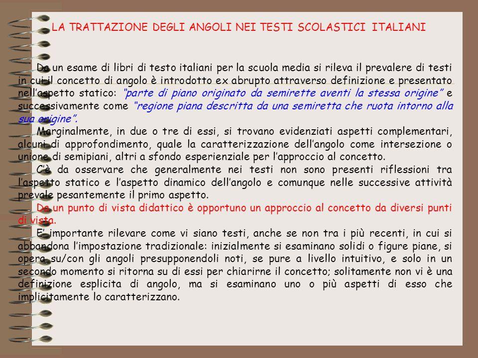 LA TRATTAZIONE DEGLI ANGOLI NEI TESTI SCOLASTICI ITALIANI