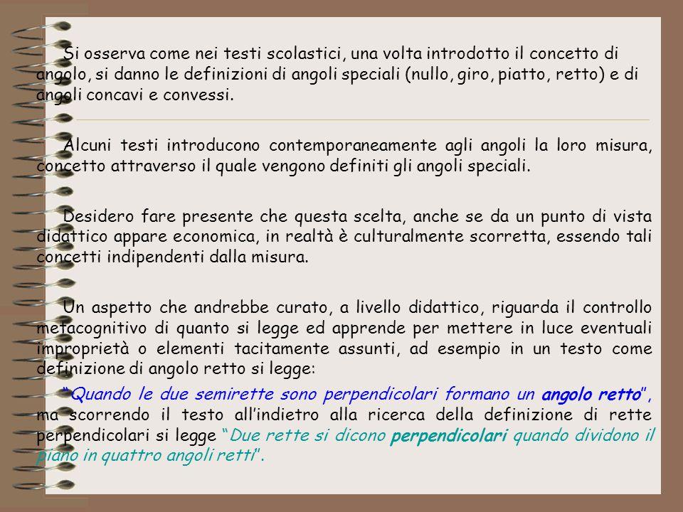Si osserva come nei testi scolastici, una volta introdotto il concetto di angolo, si danno le definizioni di angoli speciali (nullo, giro, piatto, retto) e di angoli concavi e convessi.