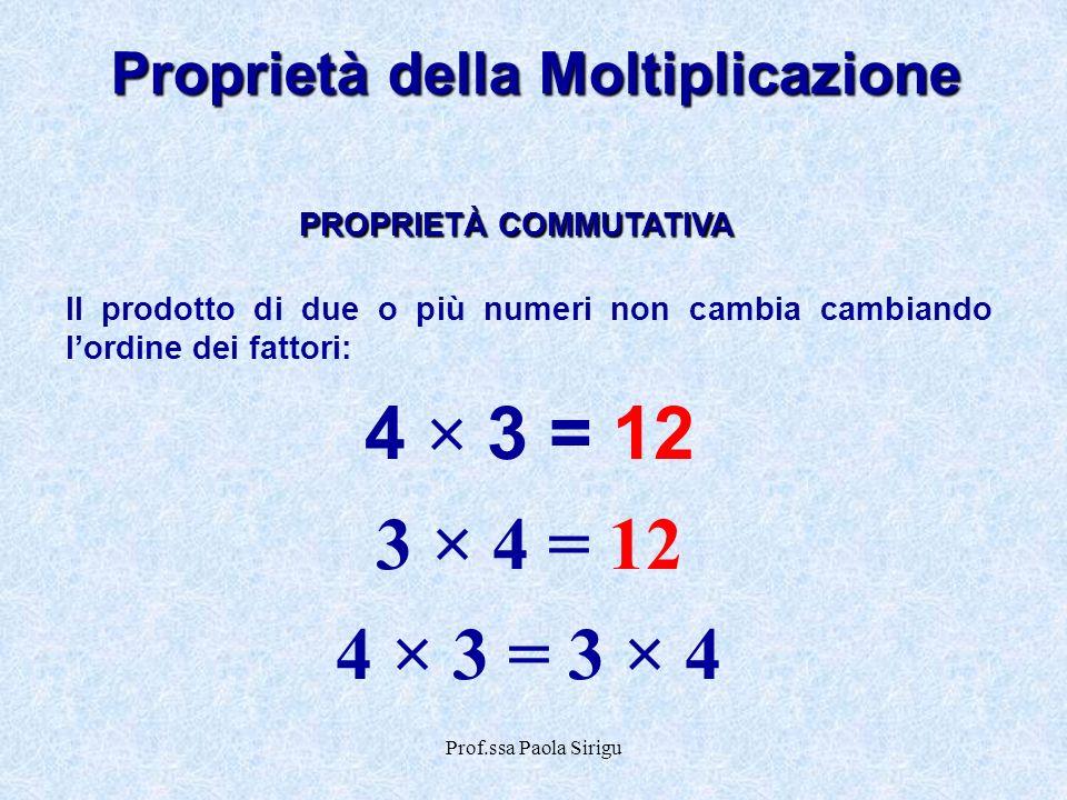 Proprietà della Moltiplicazione PROPRIETÀ COMMUTATIVA