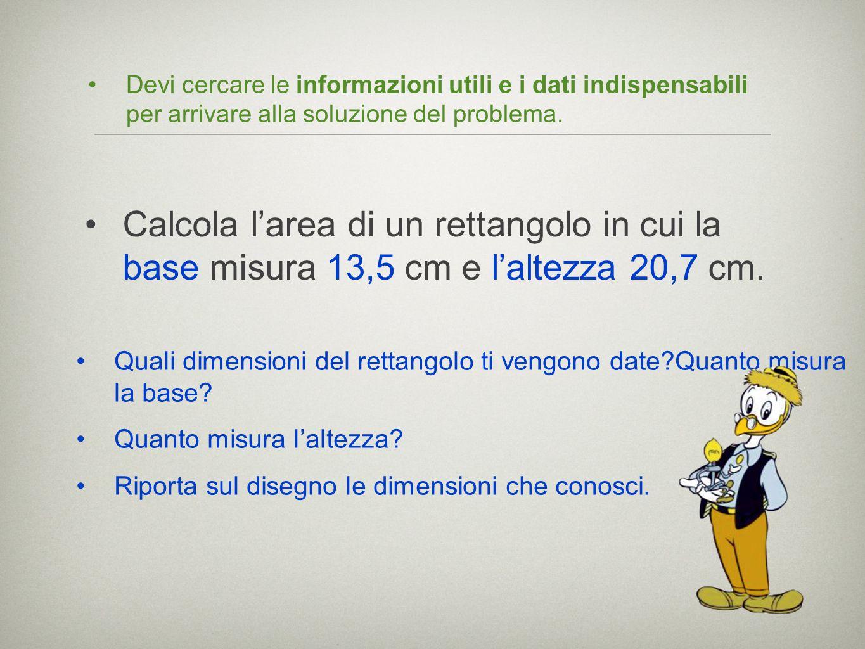 Devi cercare le informazioni utili e i dati indispensabili per arrivare alla soluzione del problema.