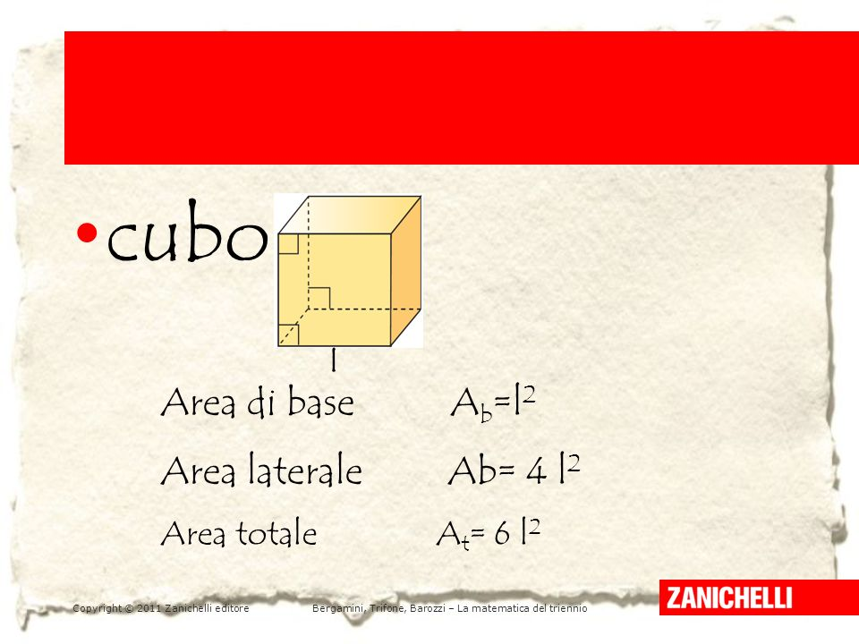 cubo Area di base Ab=l2 Area laterale Ab= 4 l2 Area totale At= 6 l2