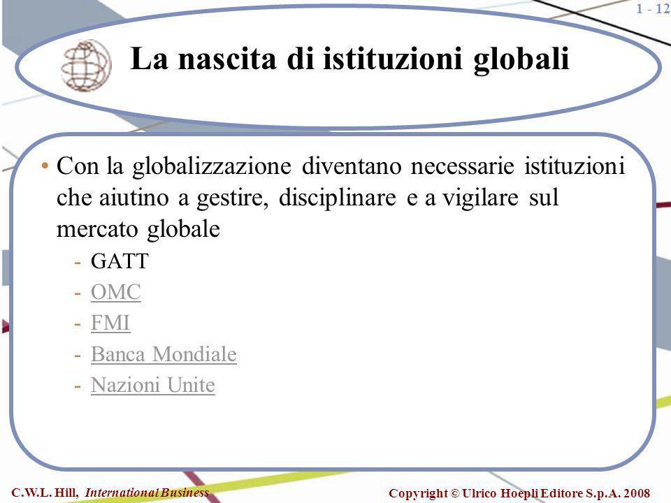 La nascita di istituzioni globali