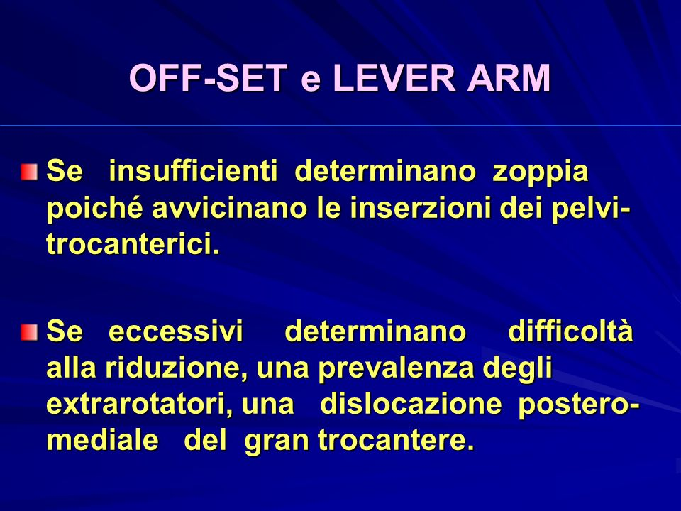OFF-SET e LEVER ARM Se insufficienti determinano zoppia poiché avvicinano le inserzioni dei pelvi-trocanterici.