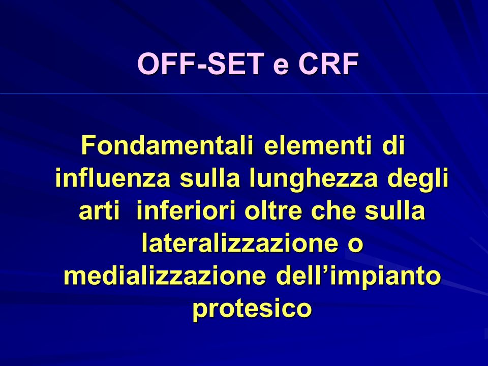 OFF-SET e CRF