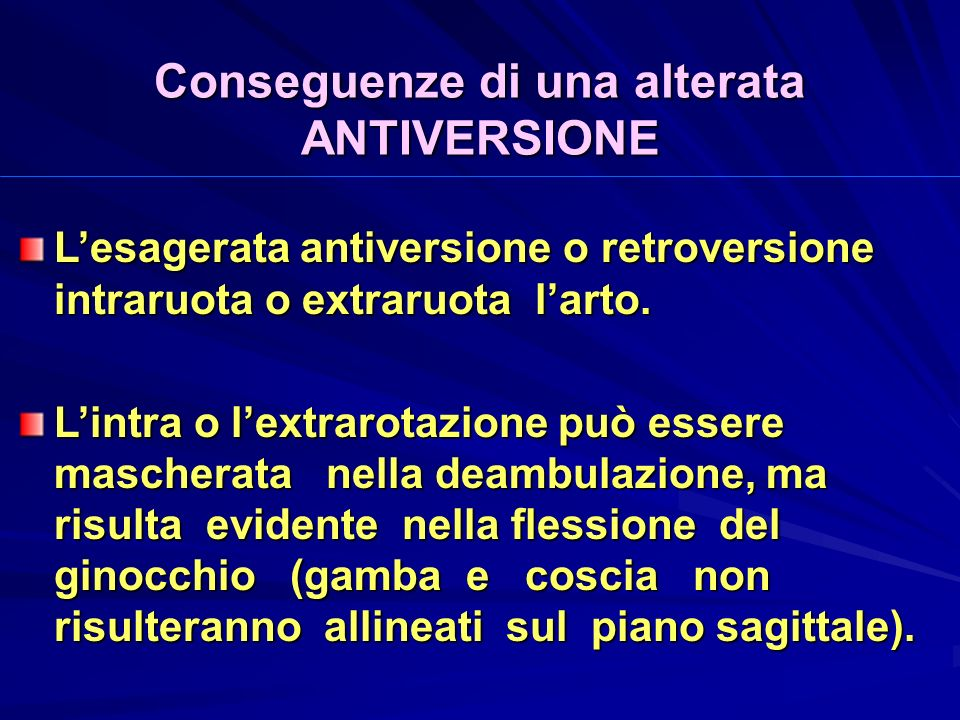 Conseguenze di una alterata ANTIVERSIONE