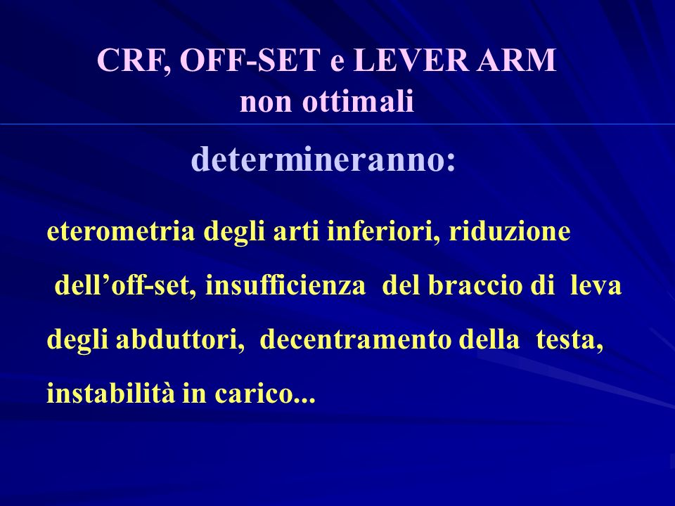 determineranno: CRF, OFF-SET e LEVER ARM non ottimali