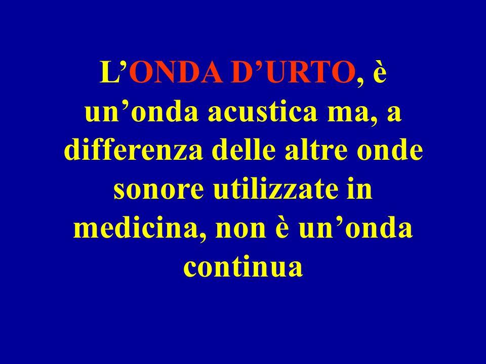 L'ONDA D'URTO, è un'onda acustica ma, a differenza delle altre onde sonore utilizzate in medicina, non è un'onda continua