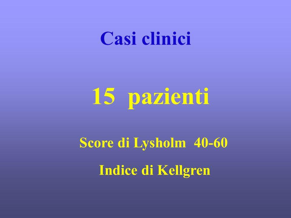 Casi clinici 15 pazienti Score di Lysholm 40-60 Indice di Kellgren
