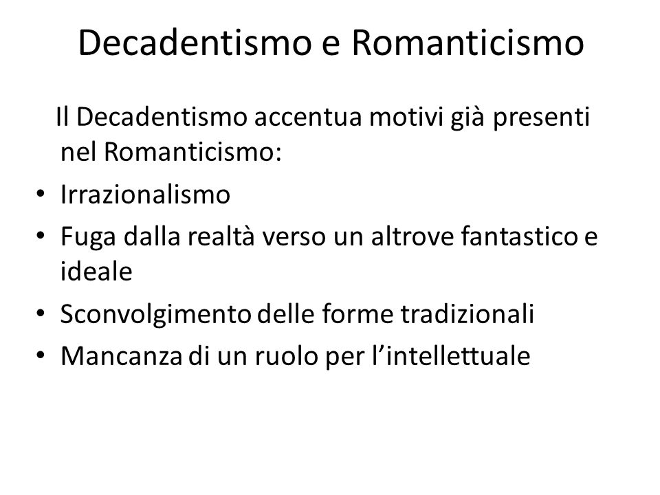 Decadentismo e Romanticismo