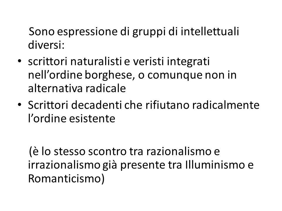 Sono espressione di gruppi di intellettuali diversi: