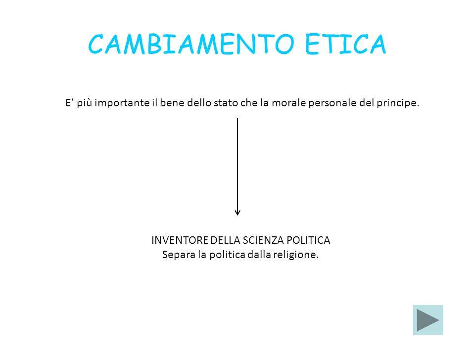CAMBIAMENTO ETICA E' più importante il bene dello stato che la morale personale del principe. INVENTORE DELLA SCIENZA POLITICA.