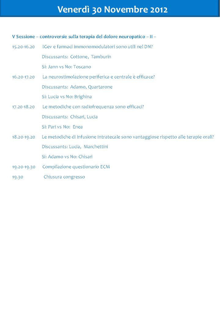 Venerdì 30 Novembre 2012 6