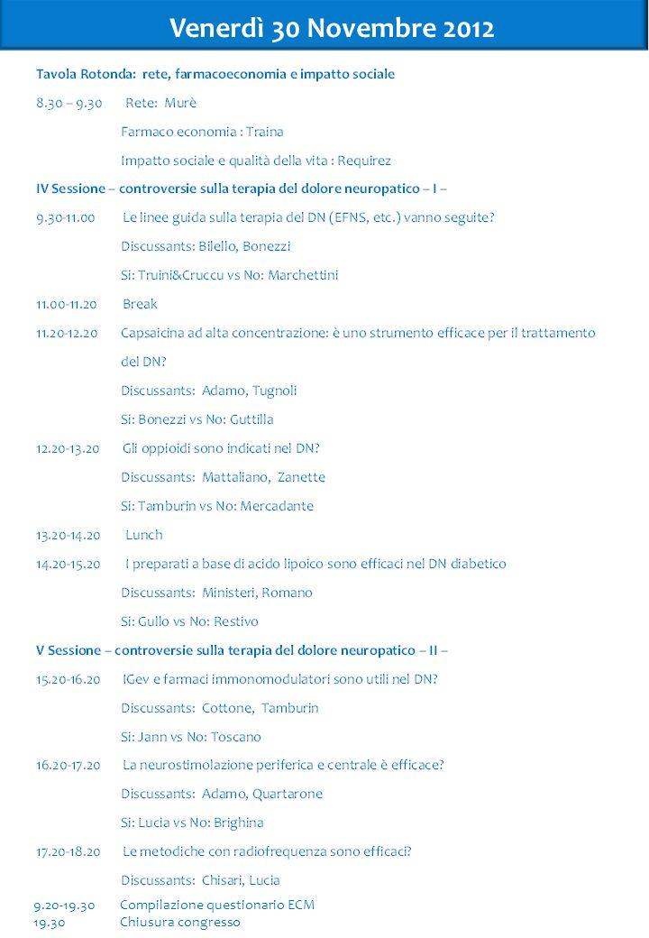 Venerdì 30 Novembre 2012 4 9.20-19.30 Compilazione questionario ECM