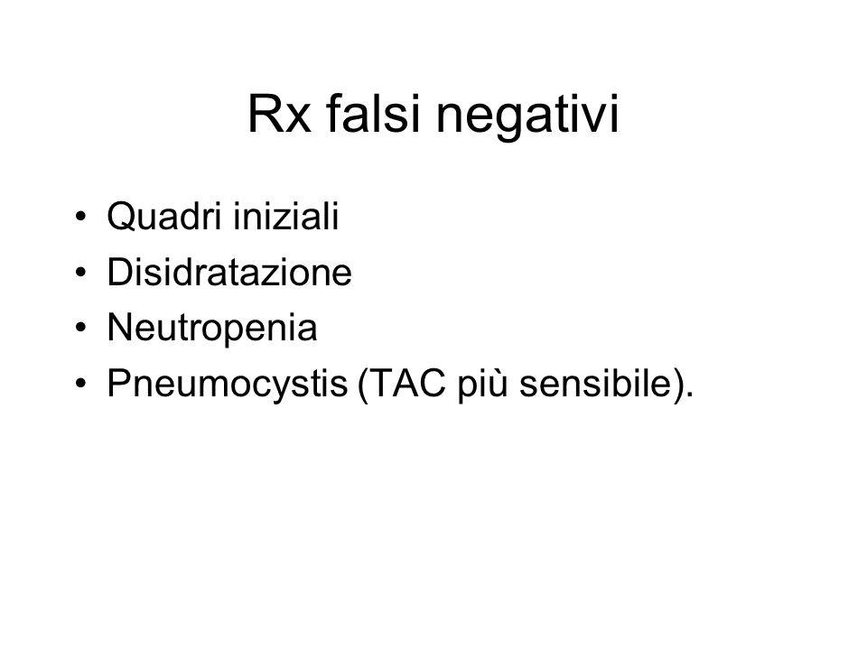 Rx falsi negativi Quadri iniziali Disidratazione Neutropenia