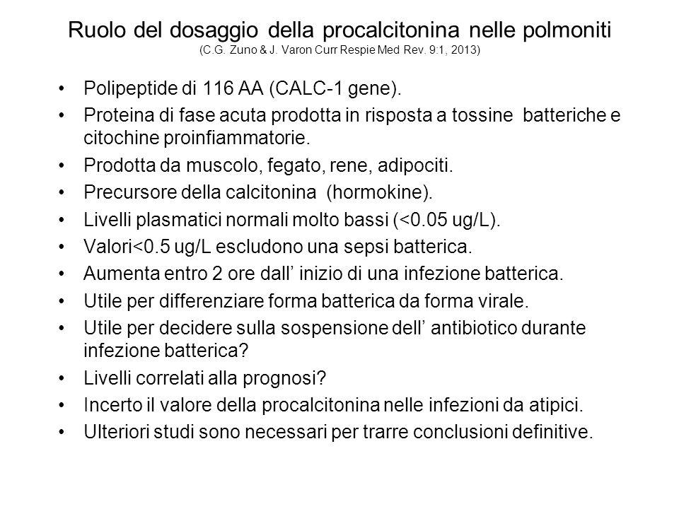 Ruolo del dosaggio della procalcitonina nelle polmoniti (C.G. Zuno & J. Varon Curr Respie Med Rev. 9:1, 2013)