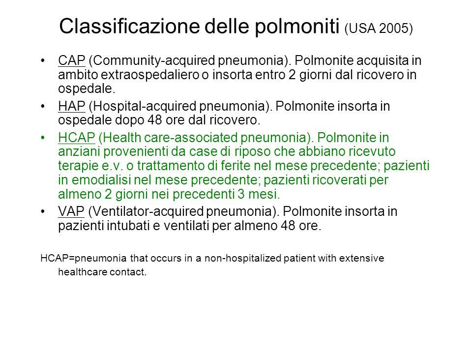 Classificazione delle polmoniti (USA 2005)