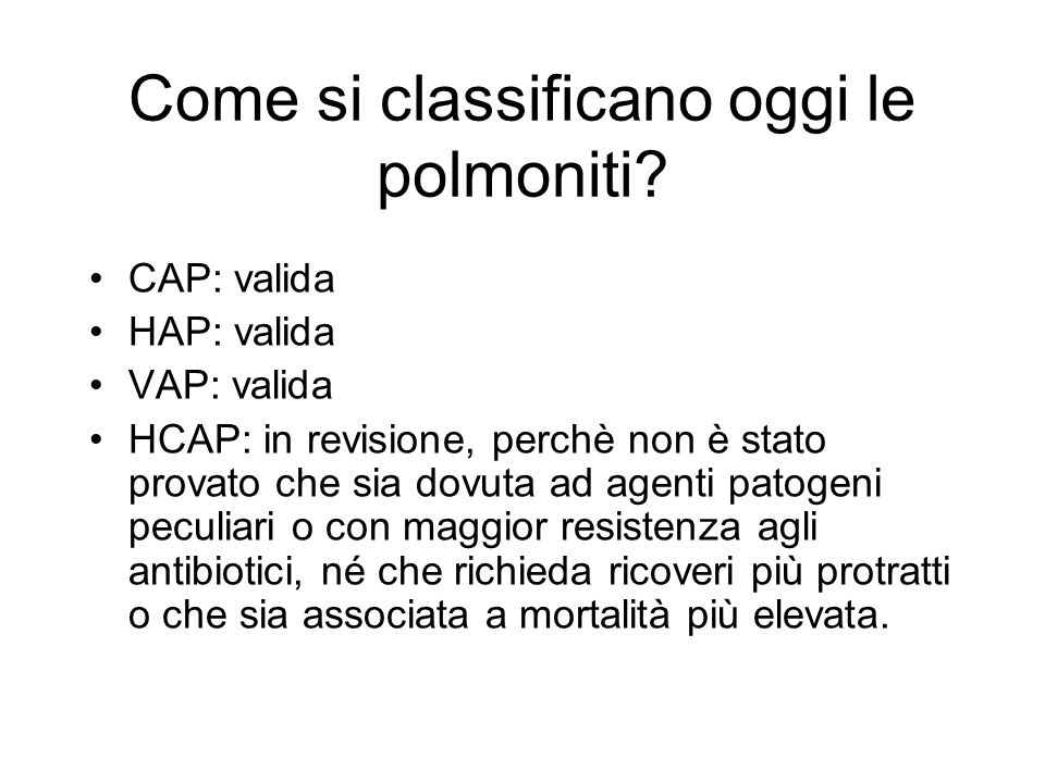 Come si classificano oggi le polmoniti