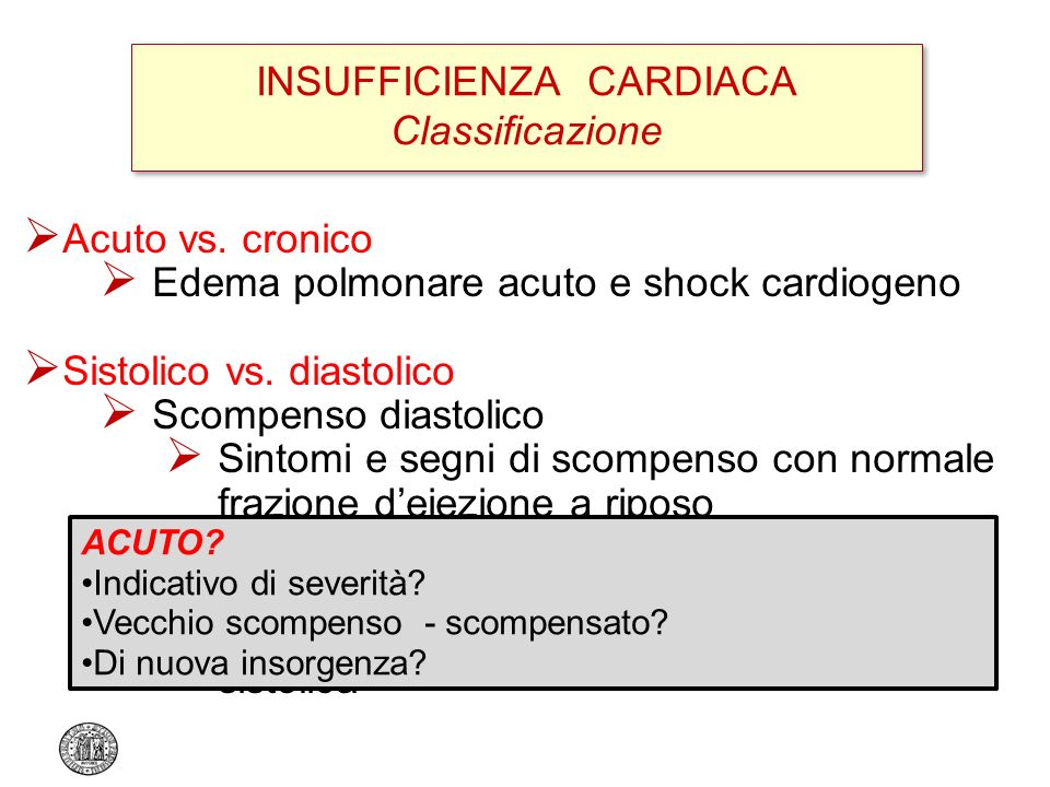INSUFFICIENZA CARDIACA Classificazione