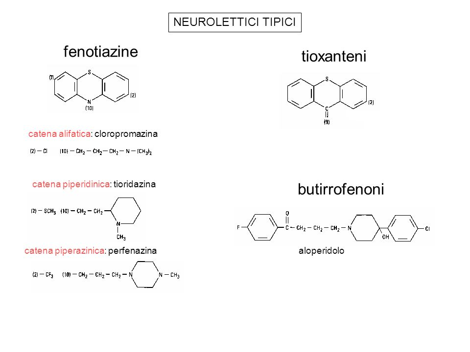 fenotiazine tioxanteni butirrofenoni NEUROLETTICI TIPICI