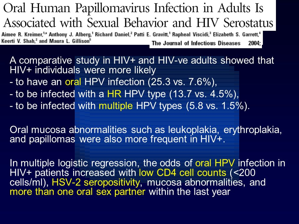 A comparative study in HIV+ and HIV-ve adults showed that HIV+ individuals were more likely