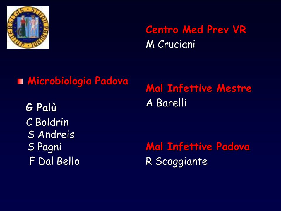 Centro Med Prev VR M Cruciani. Mal Infettive Mestre. A Barelli. Mal Infettive Padova. R Scaggiante.