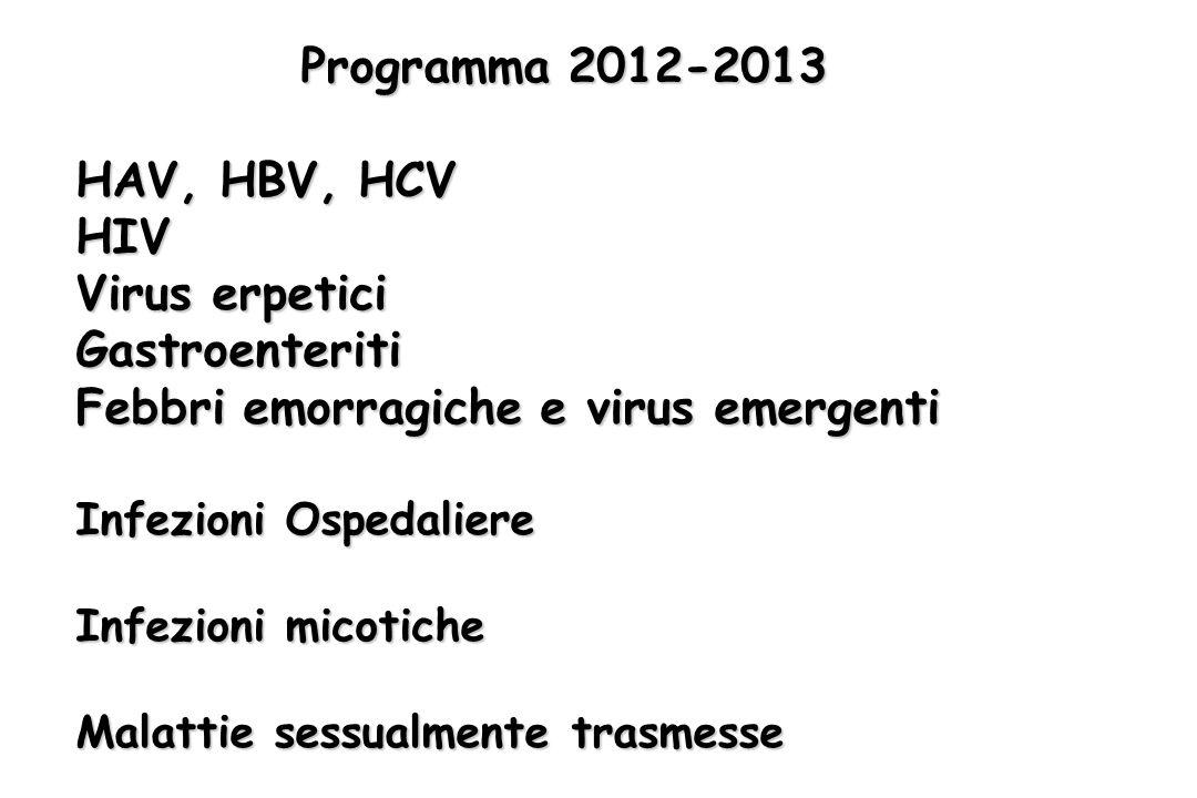 Programma 2012-2013 HAV, HBV, HCV HIV Virus erpetici Gastroenteriti Febbri emorragiche e virus emergenti Infezioni Ospedaliere Infezioni micotiche Malattie sessualmente trasmesse