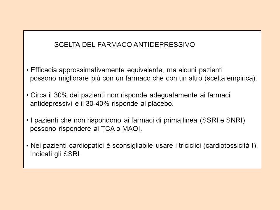 SCELTA DEL FARMACO ANTIDEPRESSIVO