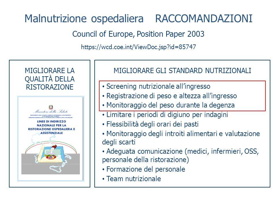 Malnutrizione ospedaliera RACCOMANDAZIONI
