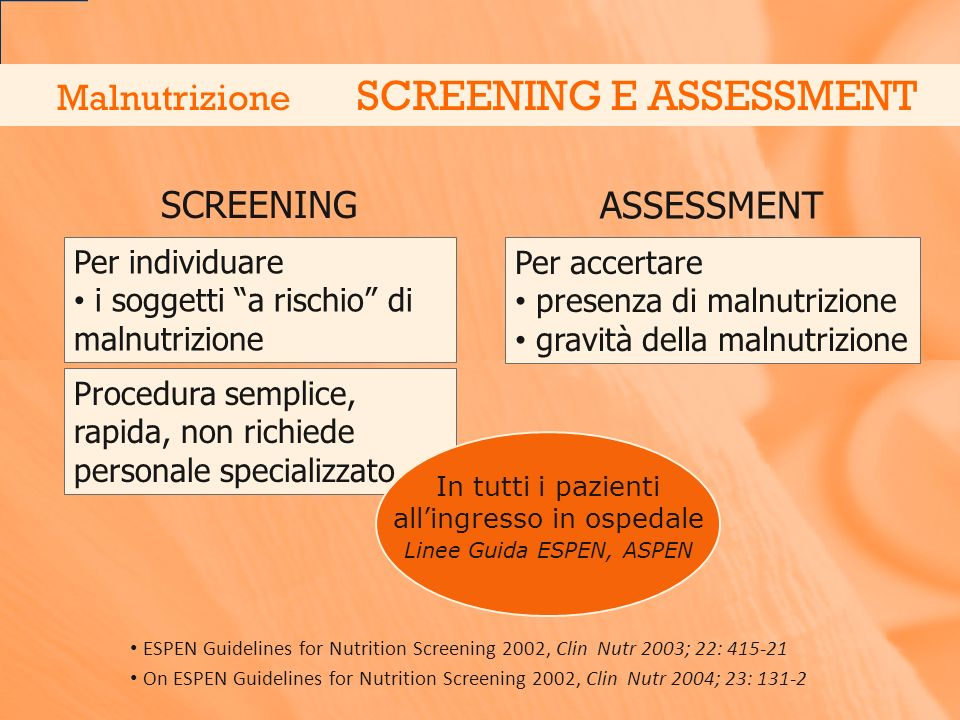 Malnutrizione SCREENING E ASSESSMENT