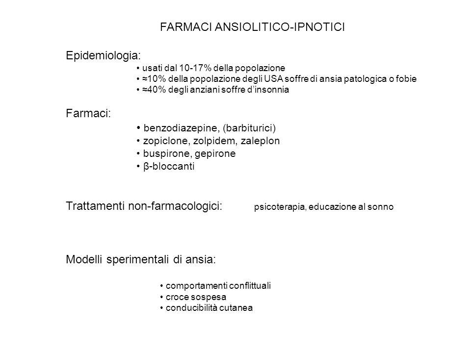 FARMACI ANSIOLITICO-IPNOTICI Epidemiologia: