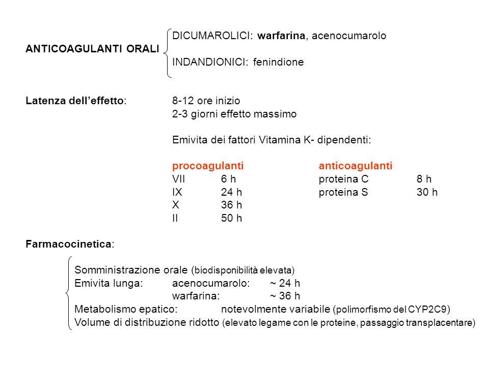 DICUMAROLICI: warfarina, acenocumarolo