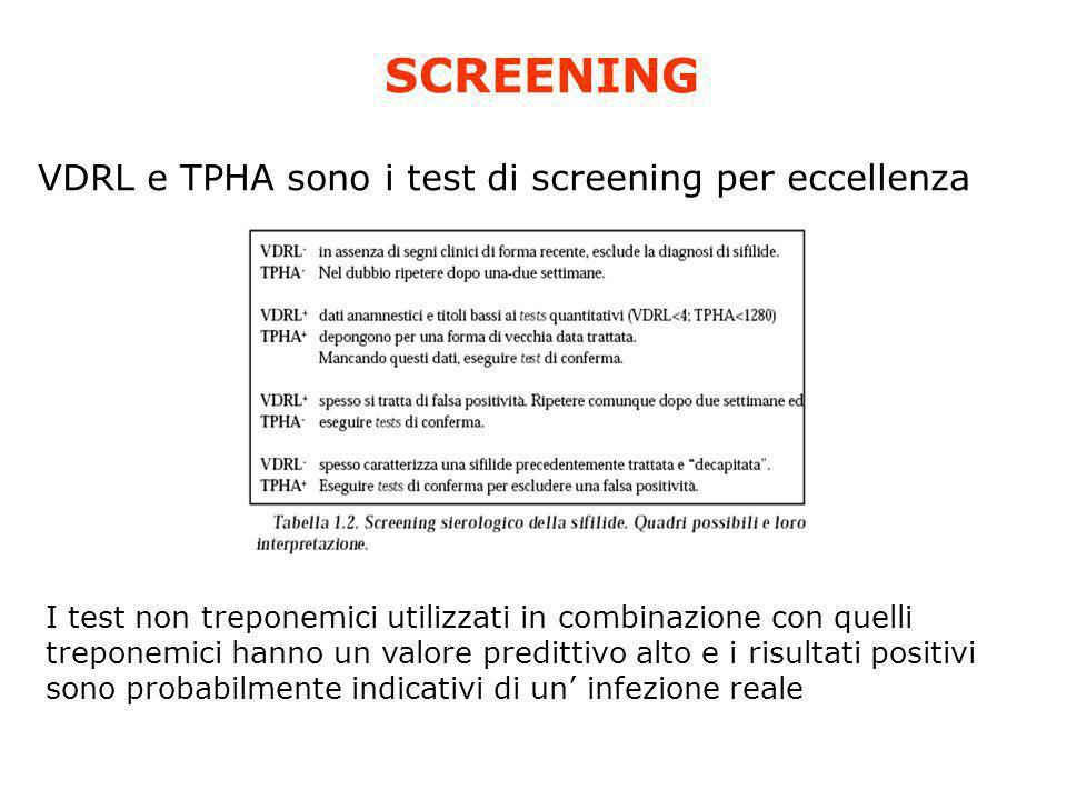 SCREENING VDRL e TPHA sono i test di screening per eccellenza