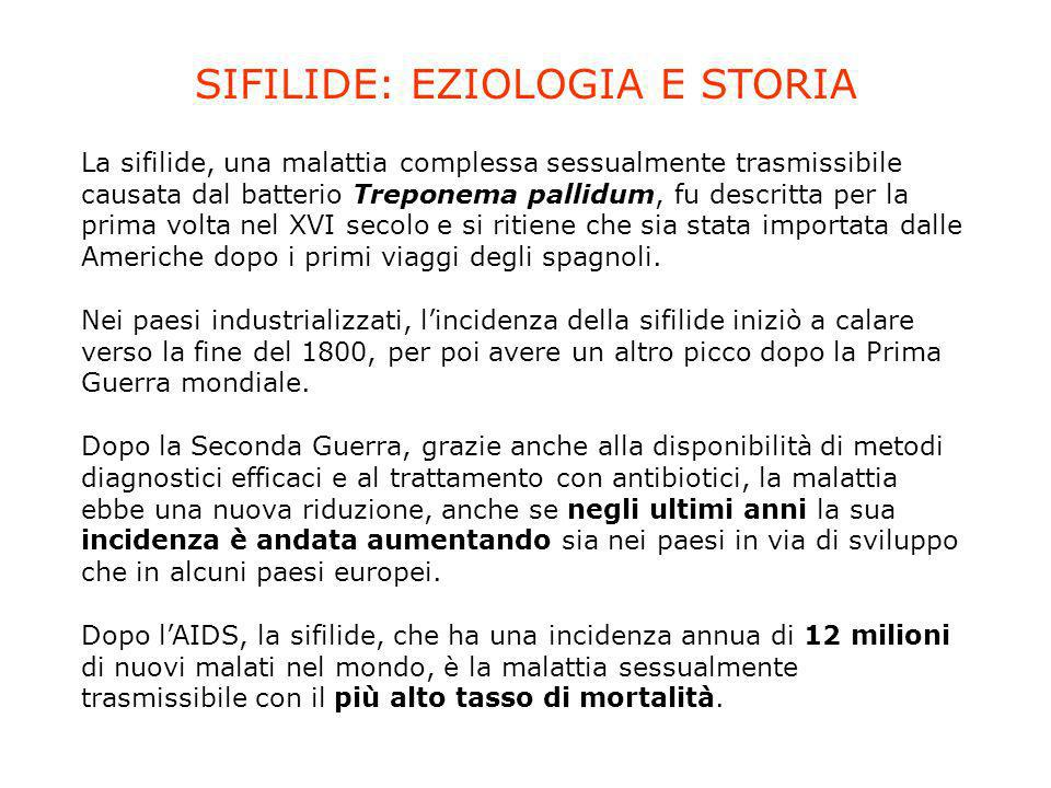 SIFILIDE: EZIOLOGIA E STORIA
