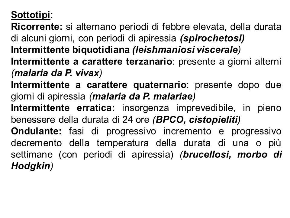 Sottotipi: Ricorrente: si alternano periodi di febbre elevata, della durata di alcuni giorni, con periodi di apiressia (spirochetosi)