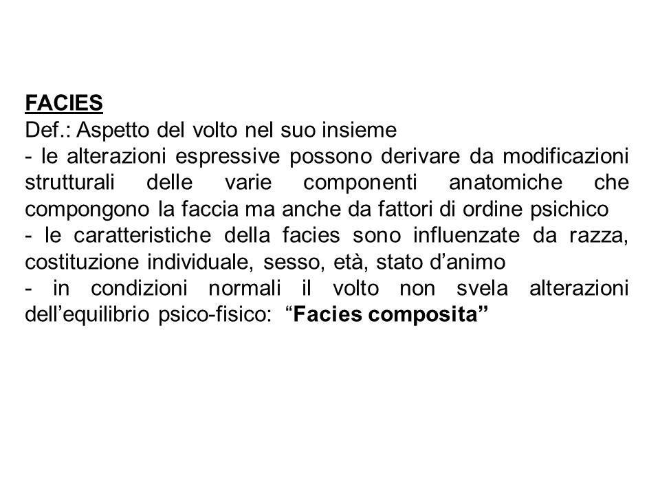 FACIES Def.: Aspetto del volto nel suo insieme.