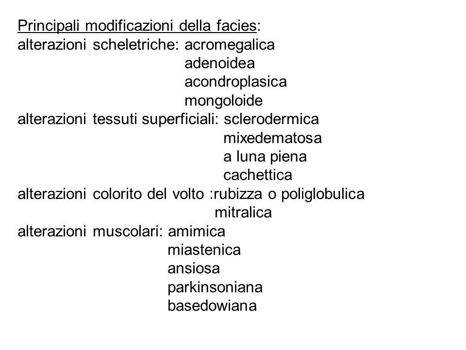 Principali modificazioni della facies: